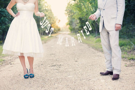 Just Married Banner. Wedding Photo Prop.  Photo Booth, Photobooth, Photo Prop