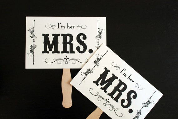 Thank You and Mrs. and Mrs. LGBT Pride Day. Double Sided Paddle Signs . Fan