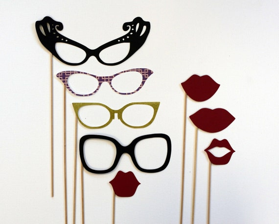 Photobooth Props - Photo Prop - Man Men Inspired Lips and Glasses