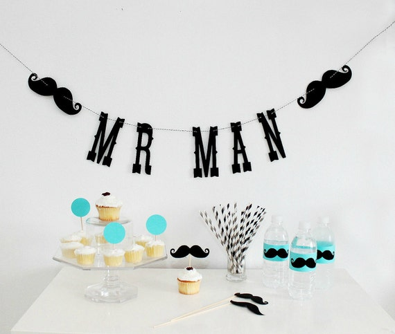 Mr. Man Birthday Garland. Boy Party. Little Man Bash. First Birthday