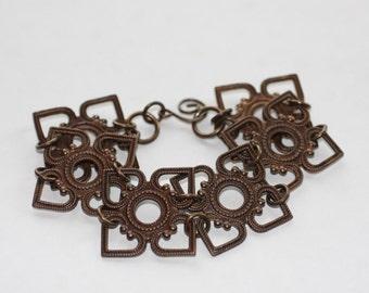 Oxidized, Natural, Vintaj Brass Attic Window Bracelet