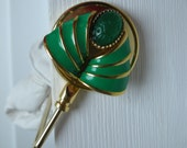 Purse Hook - Repurposed vintage jewelry - Green Scarab with Classical Green Waves