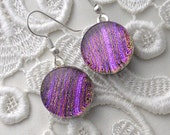 Pink Earrings, Fused Dichroic Glass Earrings X8183