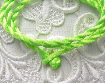 Chartreuse Silk Cord Necklace For Pendants, Tiles, Cabochons, Jewelry Supply, Pendant Supply