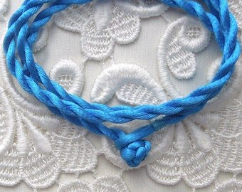 Blue Silk Cord Necklace For Pendants, Tiles, Cabochons, Jewelry Supply, Pendant Supply