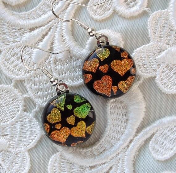 Dichroic Fused Glass Earrings, Glass Earrings X8545