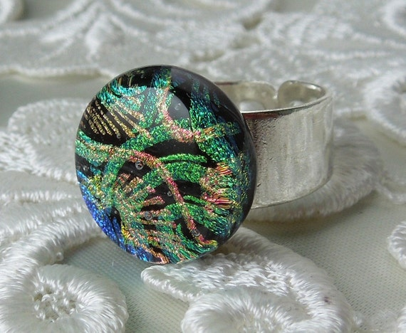 Dichroic Ring, Dichroic Jewelry, Fused Glass, Glass Ring, Dichroic Fused Glass, Dichroic Glass X4458