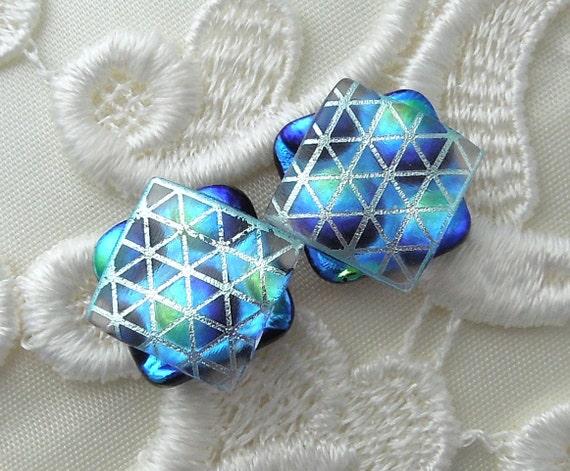 Dichroic Glass, Post Earrings, Glass Earrings, Dichroic, Bead Earrings, Stud Earrings, Blue Earrings X1645