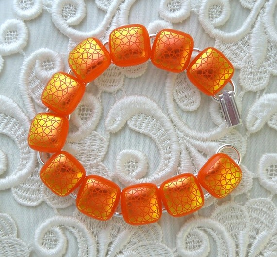 Dichroic Fused Glass Bracelet, Glass Jewelry, Beaded Bracelet, Charm Bracelet, Orange Bracelet X3159