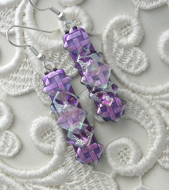 Dichroic Fused Glass Earrings, Dichroic Glass, Glass Jewelry, Bead Earrings, Purple Earrings X2219