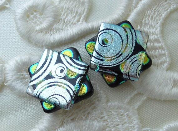 Dichroic Glass, Post Earrings, Glass Earrings, Dichroic, Bead Earrings, Stud Earrings, Silver Earrings X1094