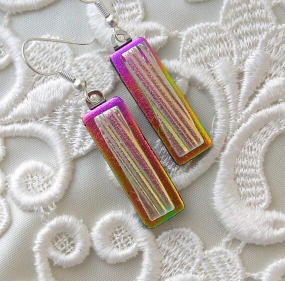 Retro, Dichroic Fused Glass Earrings, Glass Earrings, Funky, Pink Earrings X6852