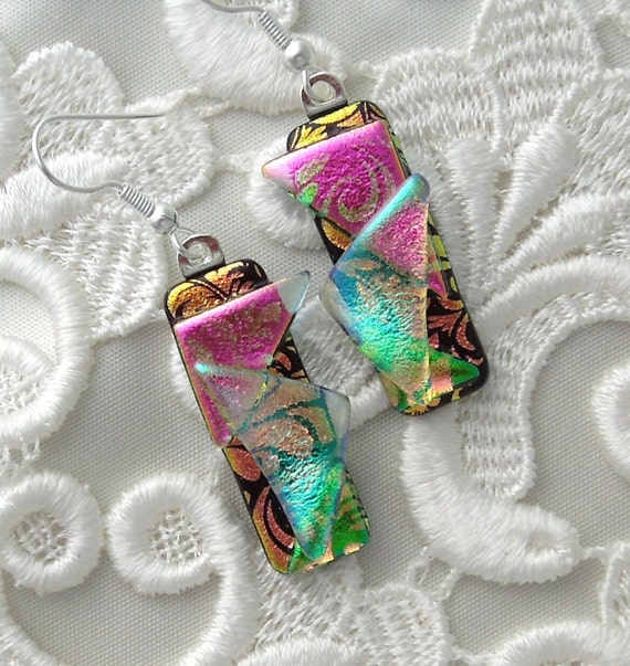 Dichroic Glass, Glass Earrings, Fused Glass, Dichroic Earrings, Pink Earrings X6480
