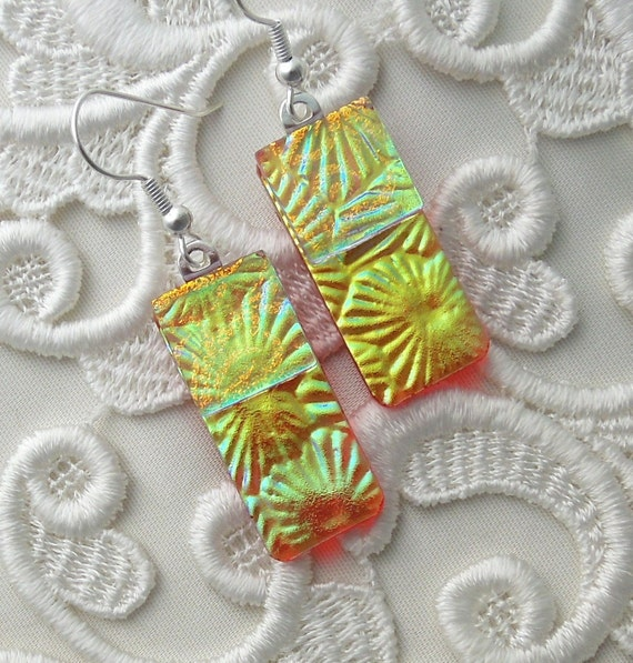 Dichroic Earrings, Glass Earrings, Fused Glass, Dichroic Glass Earrings, Chartreuse Earrings X6154