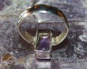 S A L E   Vintage Silver and Amethyst Ring Size 8.5 GEO