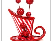 RESERVED AUSTINS  Bangle Balls... A-Symmetrical Mini Top Hat in Red And White with GLitter