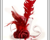 Soaked In Blood.... A-Symmetrical Mini Top Hat, White with Blood and Roses