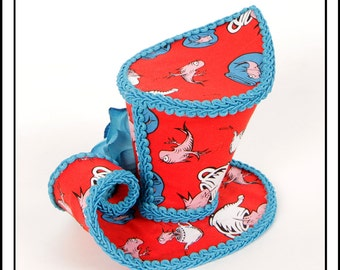 SALE Two Fish...Asymmetrical Mini Top Hat in Doctor Seuss Fabric