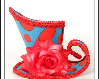 SALE SpotTastic...Asymmetrical Mini Top Hat Bright Blue With Red Spots