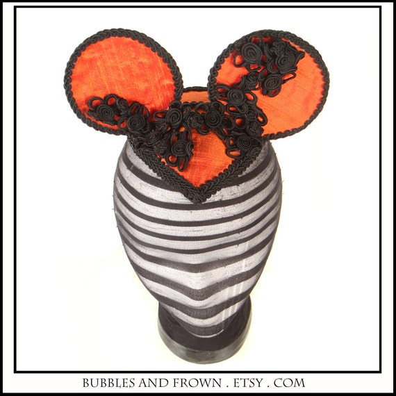 SALE Pumpkin... Orange and Black Minnie Mouse Ears in Raw Silk