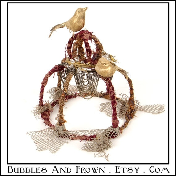 Her Highness.... Crown of Burgundy and Gold with Birds