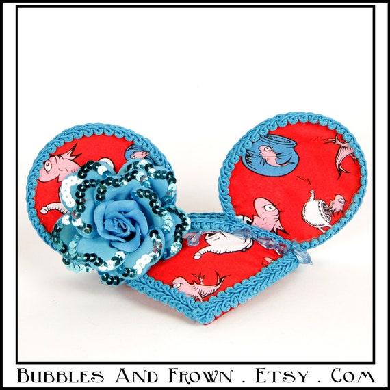 Blue Fish... Minnie Mouse Earsin Doctor Seuss Fabric