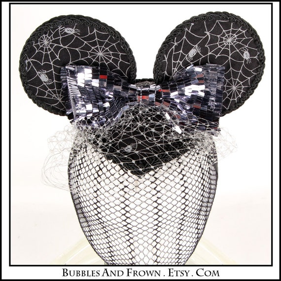 Spider Webbed... Minnie Ears in Black and Grey Web Fabric