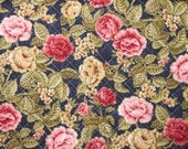 Pre Quilted Fabric Half Meter Cut Roses Design Navy Blue