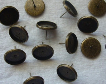 12 pairs 14mm antique bronze bezel earrings