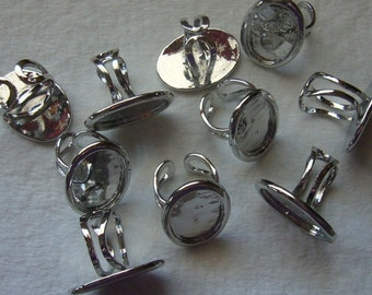 12 oval silver tone 26x18 bezel ring blanks