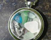 SUMMER TIME Sea Glass locket Necklace