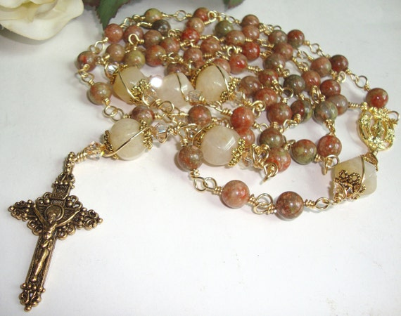 Catholic Rosary in Autumn Jasper with Antique Gold