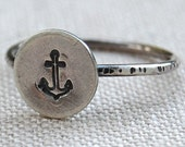Anchor - Sterling Silver Stacking Ring - Your Size