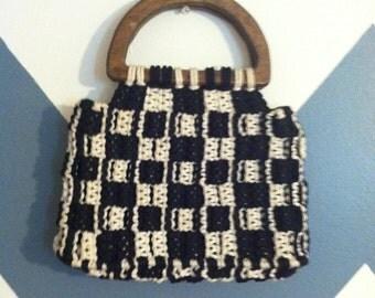 Crochet Checkard Black and White Handmade Purse