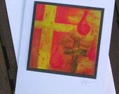 Easter card - handmade - fine art print Christian art - cross
