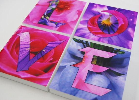 LOVE Photo block word art x 4 home decor - LOVE wall art, pink flower art, floral mdf blocks, floral girls bedroom decor