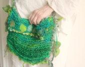 forest wanderer - rustic handknit elven forest shoulder bag