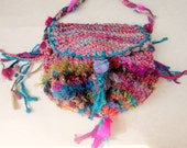 rustic handknit gypsy shoulder bag - anastasia's wandering roses
