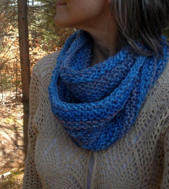 soft azure skies - handknit cowl/loop/scarf