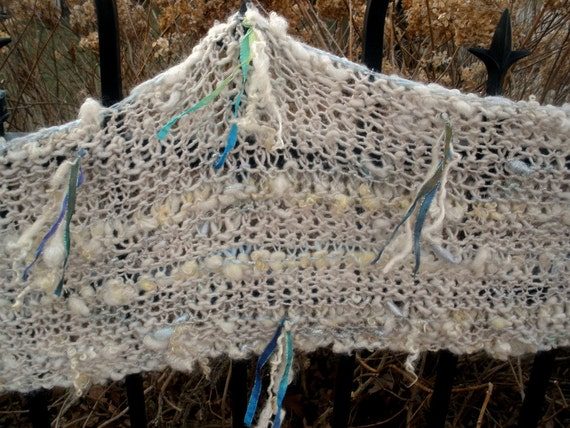 silent snow fairy - rustic handknit wool wrap/shawl/scarf from the enchanted forest - on sale, price reduced