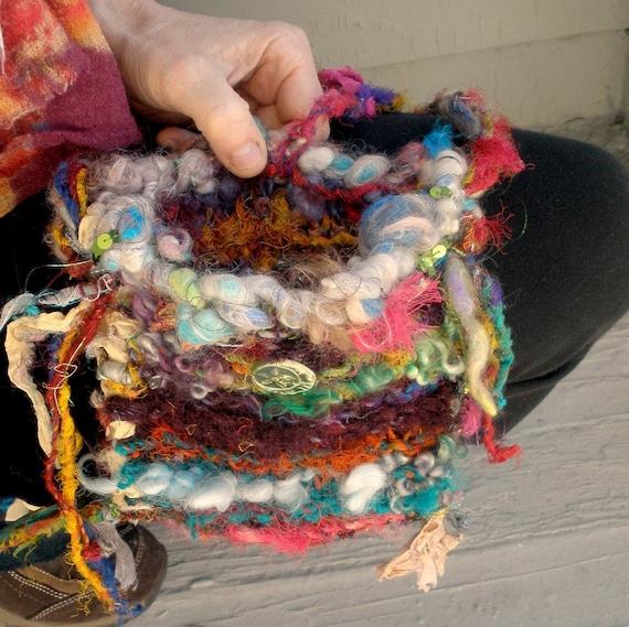 gypsy patchwork dream    - rustic handknit magical  bag