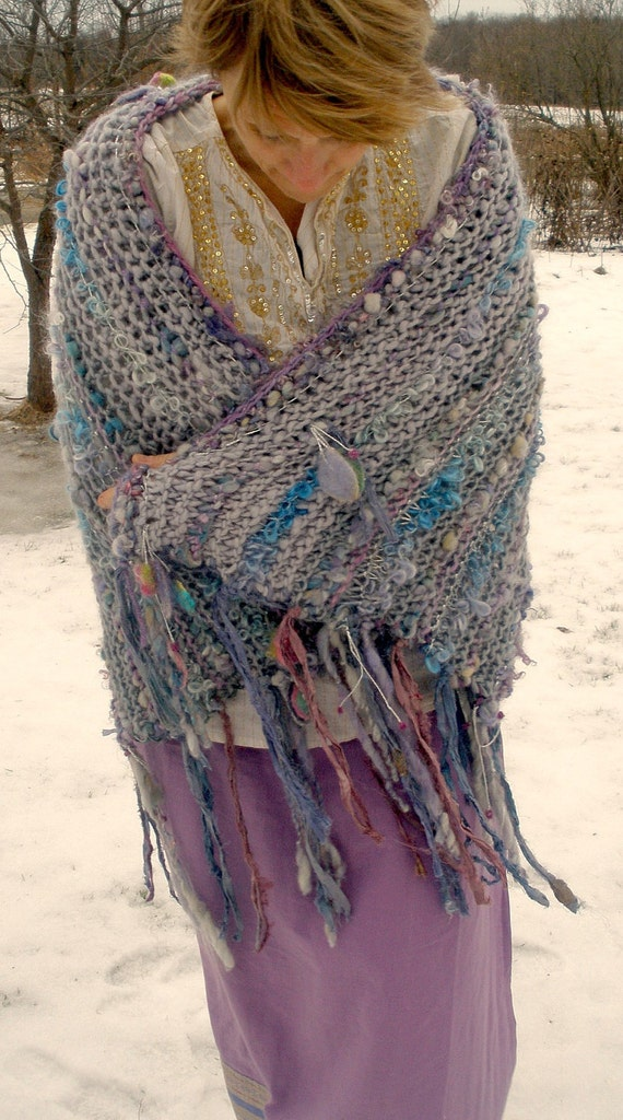 windswept fairy - rustic handknit wool wrap/shawlcapelet from the enchanted forest