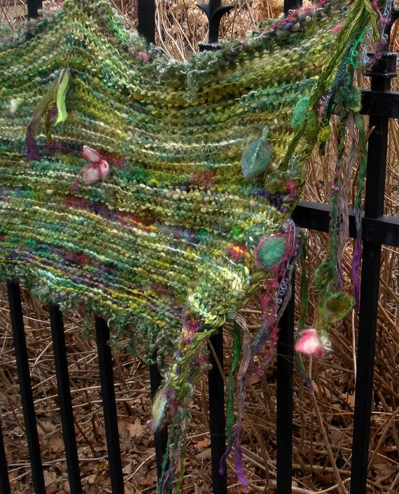 forest fairy fantasy - rustic handknit shawl/wrap/capelet from deep in the enchanted woods