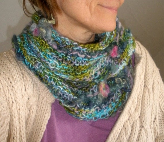 floating garden - rustic, soft and warm handknit cowl/scarf/ loop