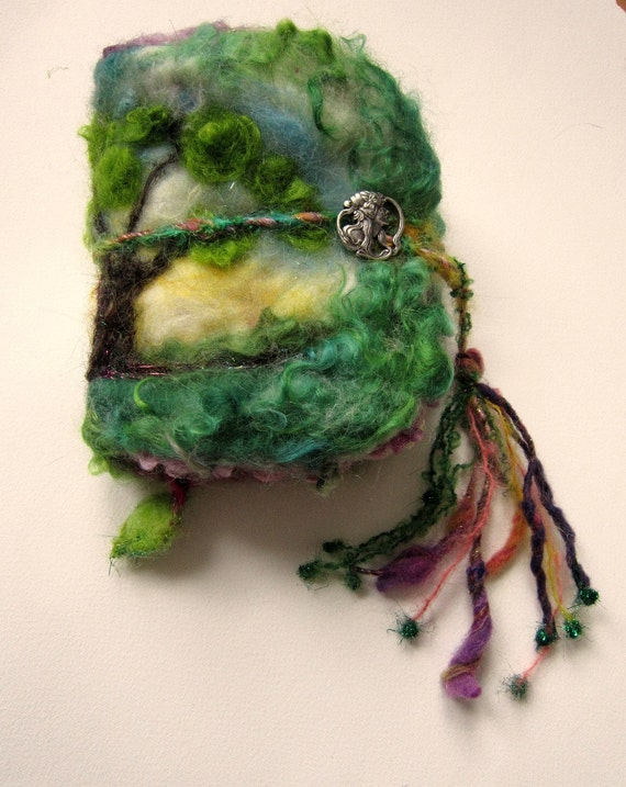 rustic needle felted wool book from the enchanted forest - the goddess tree