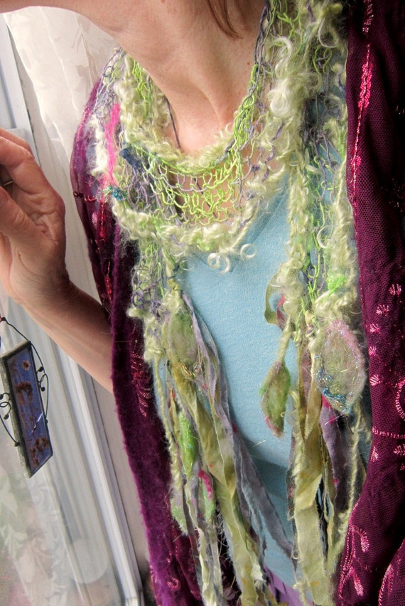 found in fairyland - rustic handknit scarf from the enchanted forest