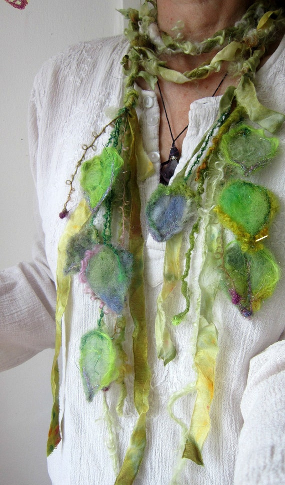 silken enchanted forest fiber braid/lariat - lady of  leaves