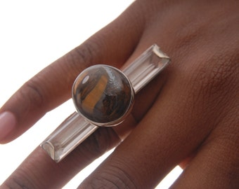 Ring of crystal and stone