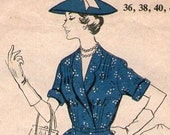 "Fabulous 1950's or late 1940's Leach Way Patterns 14055 New Look style dress with fitted waist, full gored skirt, 38"" bust"