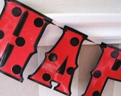Ladybug HAPPY BIRTHDAY banner - Red with Black polka dots